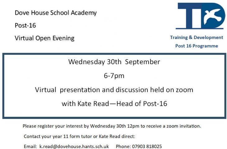 Post-16 virtual open evening